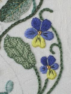 Embroidery in progress: An Elizabethan Stumpwork Bride's Bag –6: stitching the pansies
