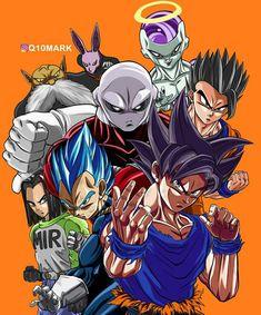 Goku, Vegeta, Gohan, Android 17, Frieza, Toppo, and Jiren