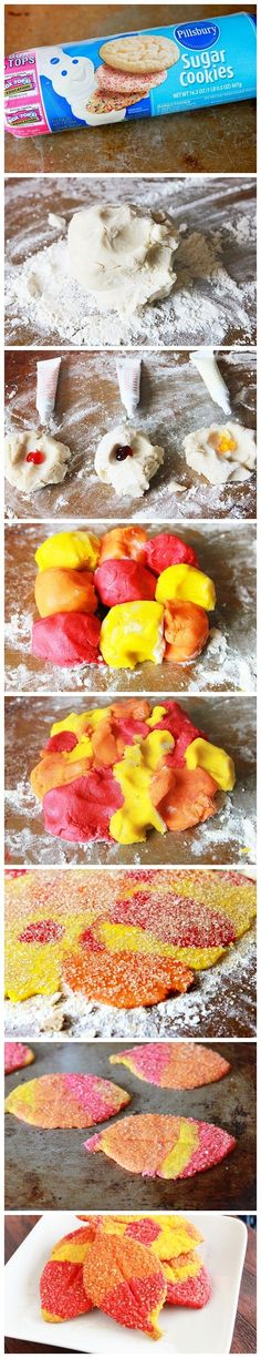 Autumn Leaf Cookies - or you could use multicolored clay so the kids could have a leaf souvenir to take home