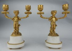 Pair 19th C. Gilt Bronze & Marble Candelabra : Lot 904