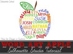 Word Art Apple with Names: Silhouette Tutorial (Teacher Gift Idea)