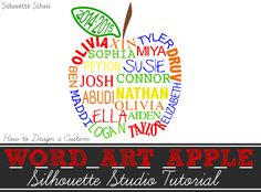 Word Art Apple with Names: Silhouette Tutorial (Teacher Gift Idea) ~ Silhouette School