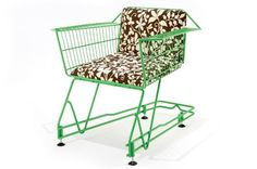 Awesome chair made from old shopping cart--I want to replace John's chair with this....I doubt he'll let me.