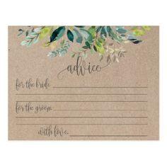 Kraft Foliage Marriage Advice Cards - postcard post card postcards unique diy cyo customize personalize