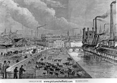 General View of Sheffield from the Station, 1879 In the foreground is Smithfield Market, Tower Grinding Wheel, Blonk Bridge & River Don. Taken from the 'Illustrated London News, August Re: The British Association for the Advancement of Science Visit. Old Pictures, Old Photos, Smithfield Market, Local History, Family History, Paris Skyline, New York Skyline, Sources Of Iron, Sheffield City