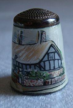 Vintage Silver Enamelled Thimble Anne Hathaway's Cottage Hallmarked Birmingham | eBay
