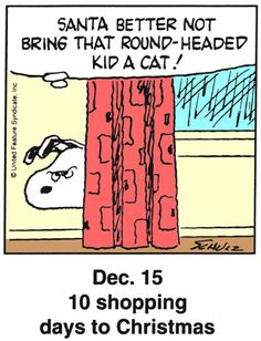 Dec 15 - This is a classic countdown panel from 1997 Snoopy Cartoon, Snoopy Comics, Peanuts Cartoon, Peanuts Snoopy, Cartoon Fun, Days To Christmas, Peanuts Christmas, Christmas Humor, Snoopy Love
