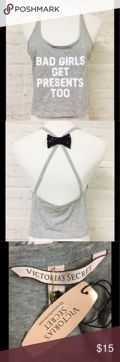 VICTORIA SECRET crop tank with glitter bow back ADORABLE Victoria's Secret brand new with tags retail $24.50 cropped tank with SEQUINNED back bow detail and white letter graphics Victoria's Secret Tops Tank Tops