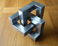 Metal trefoil sculpture Large optical illusion by CaveSparks
