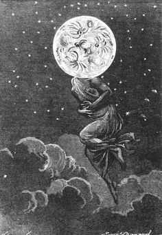 "Jules Verne's novel ""Around the Moon"" drawn by Émile-Antoine Bayard and Alphonse de Neuville 1872."