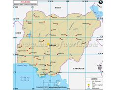 Latitude and longitude of Nigeria is 10 degrees N and 8 degrees E. Find Nigeria latitude and longitude map showing comprehensive details including cities, roads, towns, airports and much more. Lat Long Map, Usa Road Map, Latitude And Longitude Map, Map Of Nigeria, Vienna Map, World Political Map, Belgium Map, Zip Code Map, Cool World Map