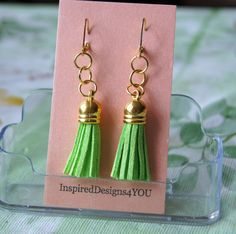 Neon Lime Faux Leather Tassel Dangle by Leather Tassel, Leather Earrings, Boho Earrings, Drop Earrings, Jewelry Shop, Jewelry Design, Jewellery, Female Heroines, St Patricks Day