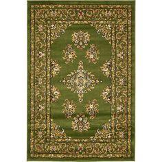 Unique Loom Green Isfahan Rug