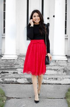 Roses are red 🌹 The Darling Style Shop Skirt Outfits Modest, Modest Bridesmaid Dresses, Modest Skirts, Modest Fashion, Girl Fashion, Fashion Outfits, Theatre Outfit, Red Dress Outfit, Everyday Dresses