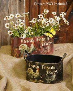 New Country Farmhouse Chicken Rooster 2 FRESH EGGS BUCKETS Planters Bucket Box #Farmhouse