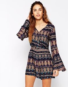 Enlarge Glamorous Wrap Front Printed Playsuit with Flare Sleeve