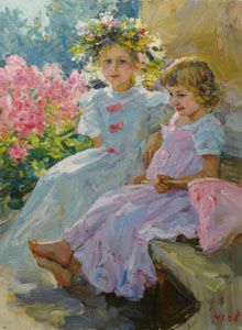 """""""On the porch"""" by Vladimir Gusev,   2015, oil on canvas, 80x60 cm."""