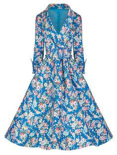 ILover Women 1950s 3/4 Sleeve Vintage Floral Garden Print Swing Dress