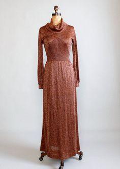 1970s Wenjilli metallic bronze maxi dress