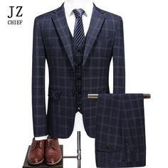 JZ CHIEF 2018 Fashion Men Plaid Classic Suit 2 Button Single Breasted Casual Slim fit Business 3 Piece Suit Big Size Vest Pants. Yesterday's price: US $244.00 (207.42 EUR). Today's price: US $117.12 (100.56 EUR). Discount: 52%.