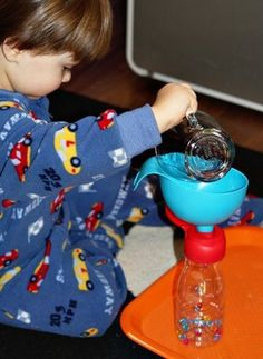 Pouring with a Funnel ~ Tot Tray {33 months}