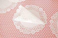 paper doily cone to fill with flower petals to throw at wedding! Or made from scrapbook paper!