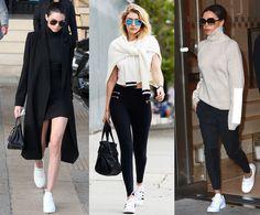 O sapato branco tem o poder de transformar os looks! Essas são 3 formas de usá-lo, deixando o seu visual fashion e criativo! Com looks escuros (preferencialmente pretos) ou mistos, desde que a parte inferior seja escura. #whiteshoes