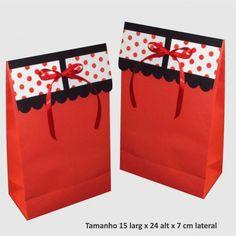 Saco de papel para presentes vermelho e preto