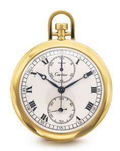 Cartier - 18K YELLOW GOLD OPEN-FACED CHRONOGRAPH WATCH CIRCA 1925