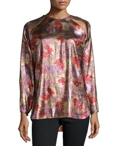 Fireworks+Metallic+Tunic+Blouse,+Antique+Pink+by+Isabel+Marant+at+Neiman+Marcus.