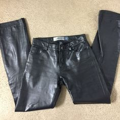 GAP 100% Black Leather Pants Size 1 No tears Great shape Black Leather sz 1 GAP Pants Boot Cut & Flare