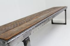 6 ft Hammered steel Bench by MtHoodWoodWorks on Etsy