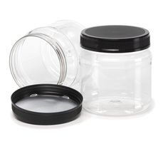 (12) 38 oz. Clear PET Plastic Wide Mouth Jar with Lid, 110mm 110-400 (Pack of 12)