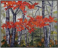 Red Maples - landscape quilt by Natalie Sewell