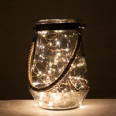 Rope handle hurricane vase with LED lights