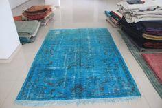 Overdyed Rug Overdyed Blue Rug Overdyed Carpet by AnatolianSpindle