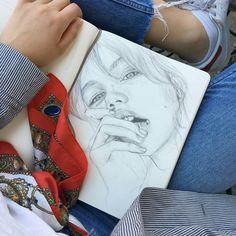 Pin by Eugenia Pec on Arte Arte Sketchbook, Desenho Tattoo, Edward Hopper, Art Hoe, Oeuvre D'art, Cool Drawings, Art Inspo, Art Sketches, Painting & Drawing