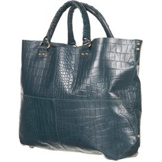Premium Croc Leather Tote Bag ($150) ❤ liked on Polyvore