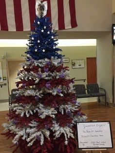 Military Christmas Tree Prob can't paint the actual tree but we could use colored ribbons or that mesh stuff - kinda like this. Christmas Tree Themes, Christmas In July, Blue Christmas, Holiday Tree, Christmas Tree Toppers, Christmas Crafts, Christmas Ideas, Merry Christmas, Xmas Trees