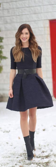 CHRISTMAS GIVEAWAY! We are giving away $250 to Le Chateau, where this BEAUTIFUL navy dress (with pockets!) comes from! Perfect for the holiday season and beyond. And this faux-leather thick black belt is only $20!! #fashion #fashionblogger #holidays #giveaway by Marie Ernst of Marie's Bazaar