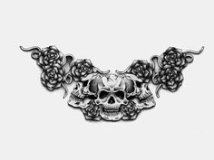Gothic black and white skulls tattoo