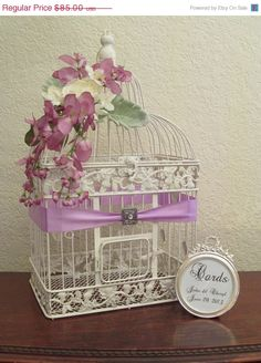 On Sale Wedding Card Box Bird Cage Holder With Bling Framed Sign