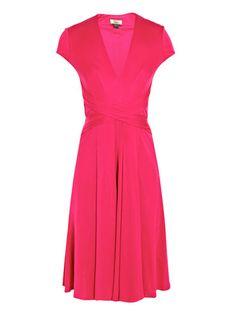 Issa v-neck A-line dress hot pink