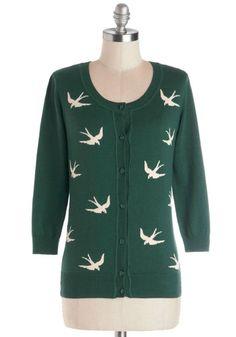 How cute!  Birdlandia Cardigan in Green, #ModCloth
