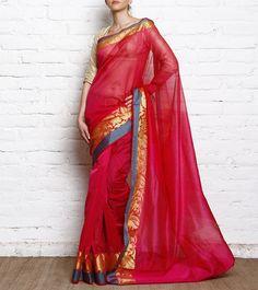 Rani Pink Cotton Silk Banarasi Saree