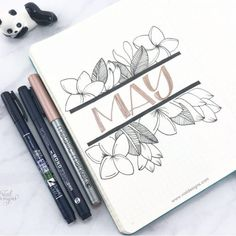 May cover page of my bullet journal set up with floral line drawings Calligraphy For Beginners Worksheets, Calligraphy Worksheet, Brush Pen Calligraphy, Calligraphy Tutorial, Calligraphy Practice, Bullet Journal Set Up, Bullet Journal Writing, Tombow Fudenosuke, Floral Doodle