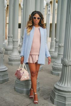 allthingsslim, blue coat, pastel coat, monochromatic outfit, ombre hair, dior bag, maternity style,