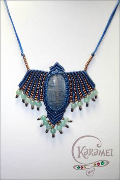 "Micro macrame pendant ""Blue Bird"". Macrame pendant with coral and aquamarine, macrame jewelry"