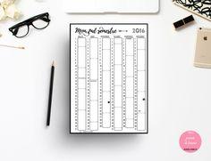 Imprimé pour planner : mon calendrier A4 de la boutique Journeefemme sur Etsy