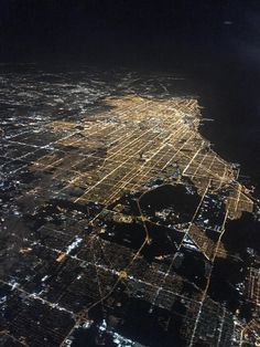 Aerial photo of Chicago at night